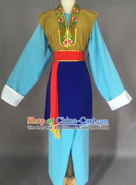 Chinese Beijing Opera Pantaloon Blue Clothing Ancient Village Women Costume for Adults