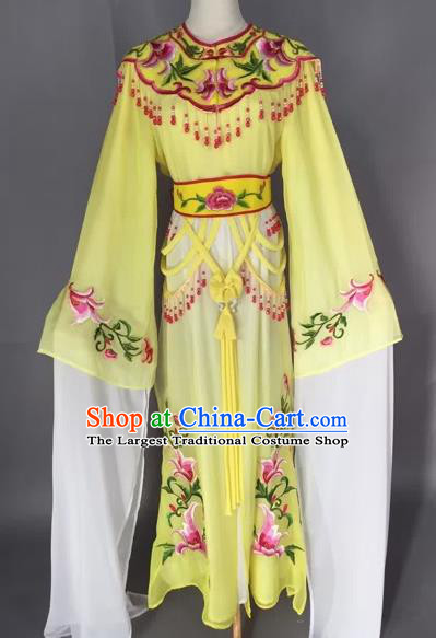 Chinese Beijing Opera Nobility Lady Yellow Dress Ancient Princess Costume for Adults