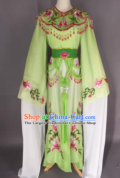 Chinese Beijing Opera Nobility Lady Green Dress Ancient Princess Costume for Adults