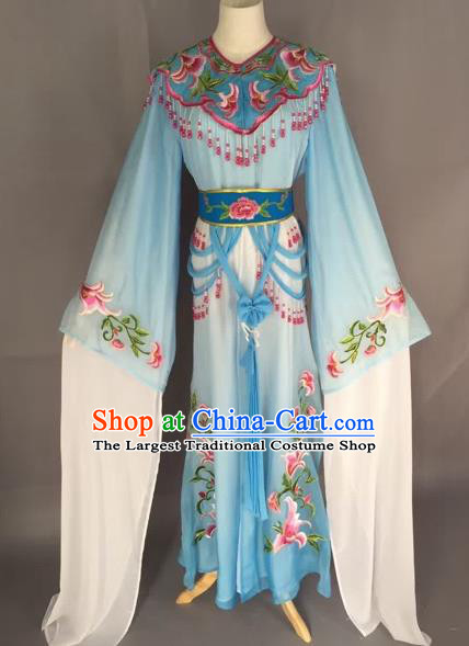 Chinese Beijing Opera Nobility Lady Blue Dress Ancient Princess Costume for Adults
