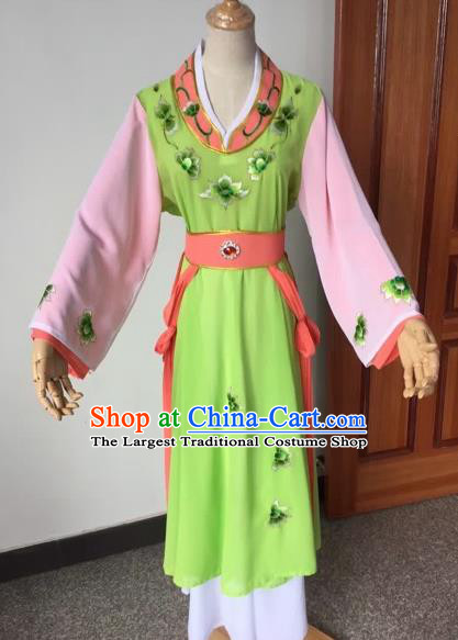 Chinese Beijing Opera Young Lady Green Dress Ancient Maidservants Costume for Adults