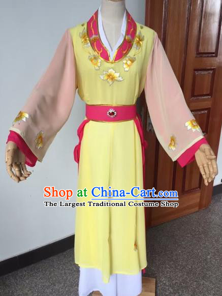 Chinese Beijing Opera Young Lady Yellow Dress Ancient Maidservants Costume for Adults