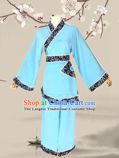 Chinese Beijing Opera Maidservants Dress Ancient Village Girl Costume for Adults