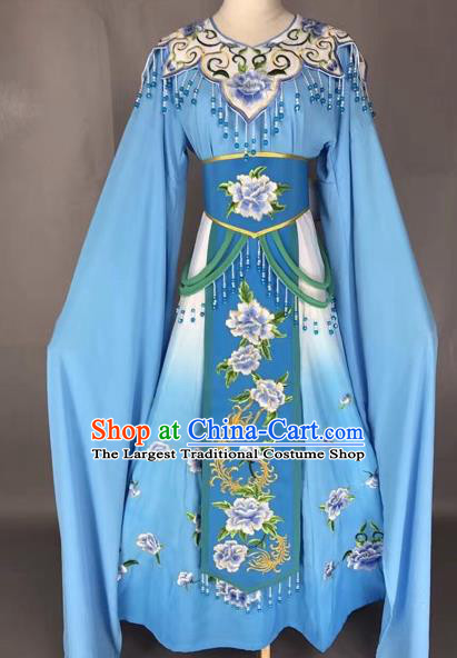 Chinese Shaoxing Opera Princess Blue Embroidered Dress Traditional Beijing Opera Diva Costume for Adults