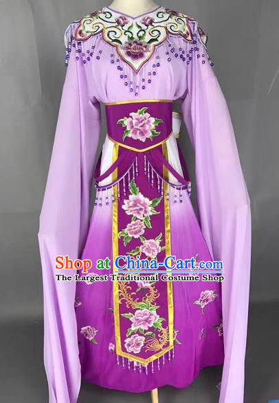 Chinese Shaoxing Opera Princess Purple Embroidered Dress Traditional Beijing Opera Diva Costume for Adults