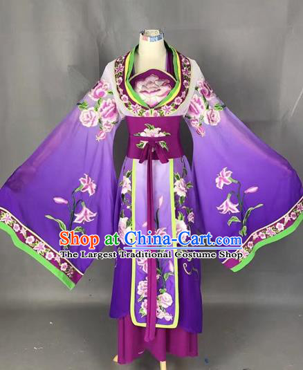 Chinese Traditional Peking Opera Diva Purple Embroidered Dress Ancient Imperial Consort Costume for Adults