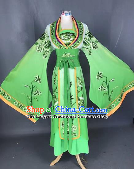 Chinese Traditional Peking Opera Diva Green Embroidered Dress Ancient Imperial Consort Costume for Adults
