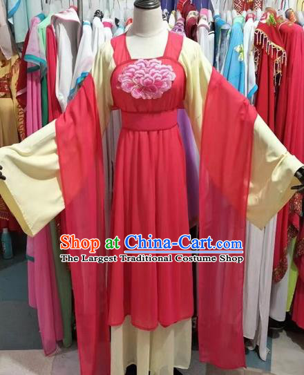 Chinese Traditional Peking Opera Diva Embroidered Dress Ancient Court Maid Costume for Adults