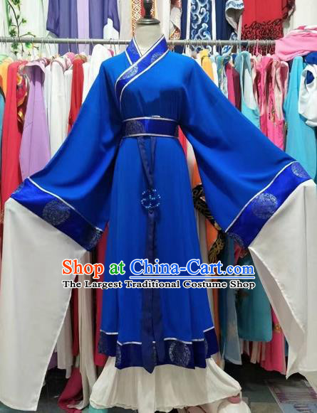 Chinese Traditional Peking Opera Pantaloon Blue Dress Ancient Embroidered Costume for Adults