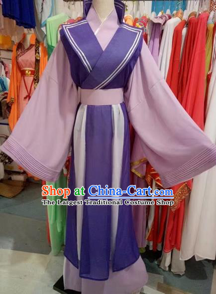 Chinese Traditional Peking Opera Diva Purple Dress Ancient Princess Costume for Adults