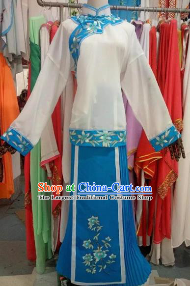 Chinese Traditional Peking Opera Diva Blue Dress Ancient Costume for Adults