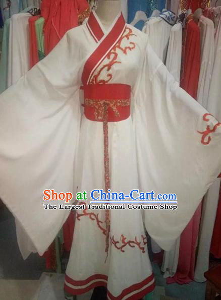 Chinese Traditional Peking Opera Diva White Hanfu Dress Ancient Palace Lady Costume for Adults