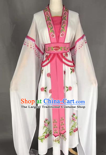 Chinese Traditional Peking Opera Diva White Hanfu Dress Ancient Palace Princess Costume for Adults