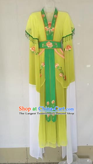 Chinese Traditional Peking Opera Diva Yellow Hanfu Dress Ancient Palace Princess Costume for Adults