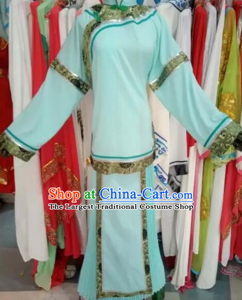 Chinese Traditional Peking Opera Blue Dress Ancient Maidservants Costume for Adults