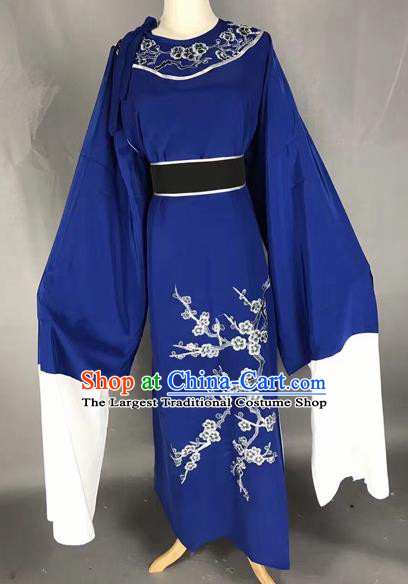 Chinese Beijing Opera Scholar Blue Clothing Traditional Peking Opera Niche Costumes for Adults