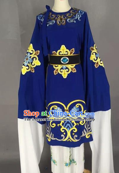 Chinese Beijing Opera Pantaloon Blue Clothing Ancient Old Woman Costume for Adults