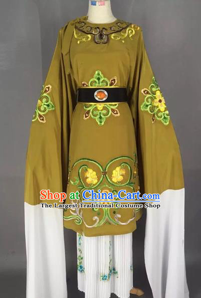 Chinese Beijing Opera Pantaloon Olive Green Clothing Ancient Old Woman Costume for Adults