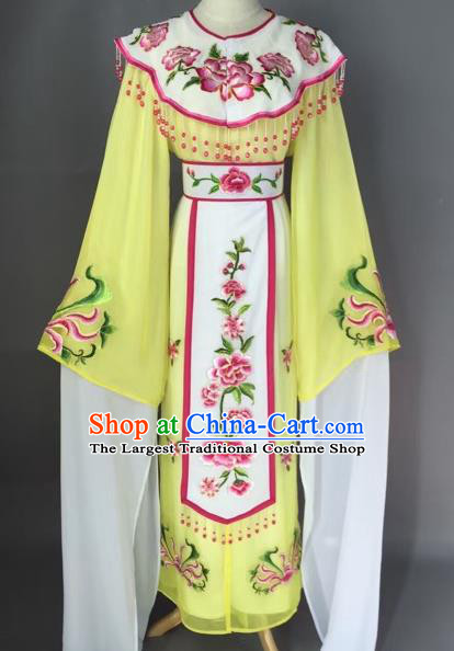 Chinese Beijing Opera Diva Yellow Dress Clothing Ancient Princess Costume for Adults