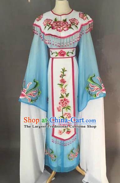 Chinese Beijing Opera Diva Blue Dress Clothing Ancient Princess Costume for Adults