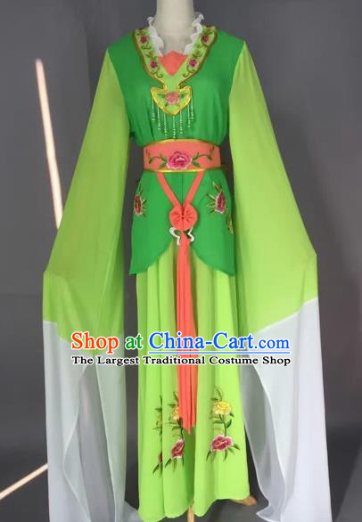 Chinese Beijing Opera Maidservants Green Clothing Ancient Palace Lady Costume for Adults