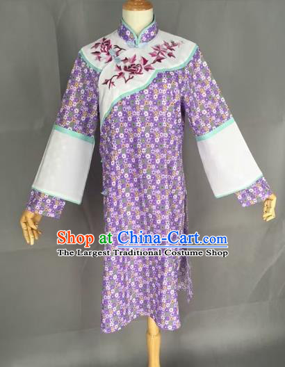 Chinese Traditional Peking Opera Actress Purple Blouse Ancient Countrywoman Costume for Adults