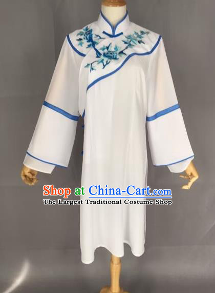 Chinese Traditional Peking Opera Actress White Blouse Ancient Countrywoman Costume for Adults