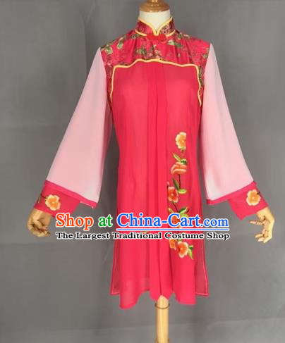 Chinese Traditional Peking Opera Actress Rosy Blouse Ancient Countrywoman Costume for Adults
