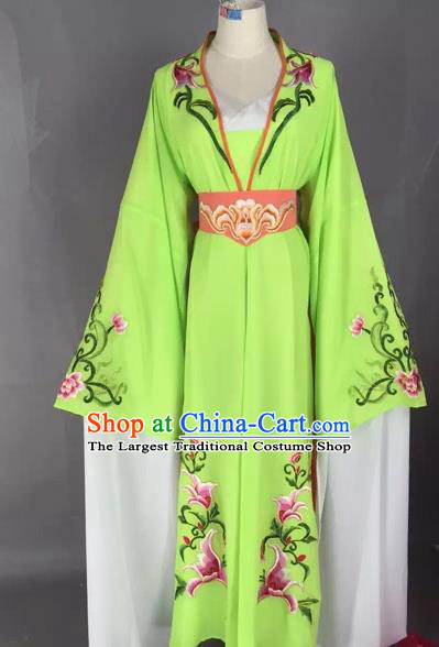 Chinese Beijing Opera Actress Green Dress Ancient Rich Lady Costume for Adults