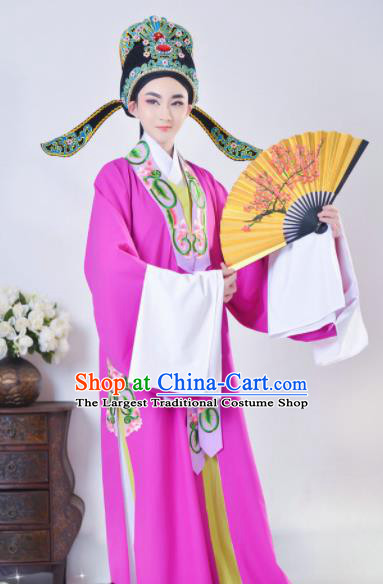 Chinese Beijing Opera Niche Purple Robe Traditional Peking Opera Scholar Costume for Adults
