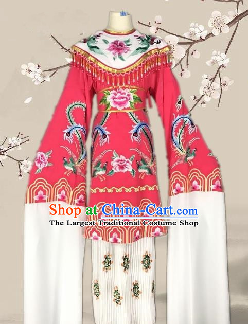 Chinese Traditional Beijing Opera Actress Rosy Dress Ancient Palace Empress Costume for Adults