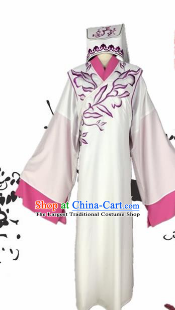 Chinese Beijing Opera Niche White Robe Traditional Peking Opera Scholar Costume and Hat for Adults
