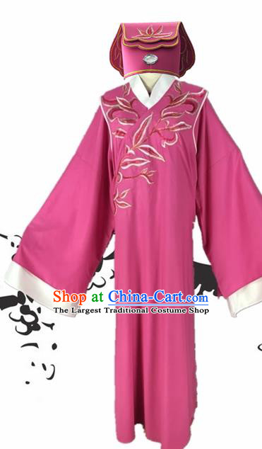 Chinese Beijing Opera Niche Rosy Robe Traditional Peking Opera Scholar Costume and Hat for Adults