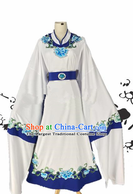 Chinese Beijing Opera Niche Jia Baoyu White Robe Traditional Peking Opera Scholar Costume for Adults