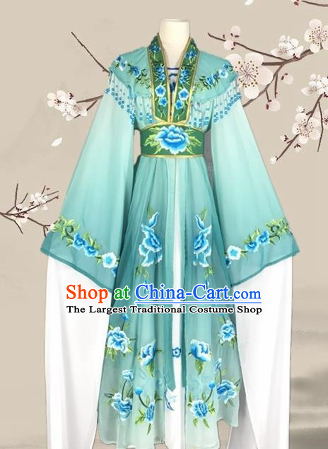 Chinese Ancient Palace Princess Costume Traditional Beijing Opera Actress Green Dress for Adults