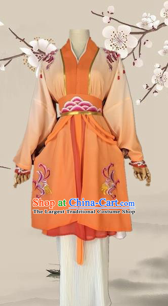 Chinese Ancient Swordswoman Orange Costume Traditional Beijing Opera Martial Arts Women Dress for Adults