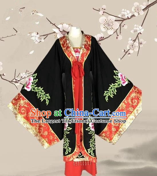 Chinese Ancient Empress Dowager Black Dress Traditional Beijing Opera Pantaloon Costume for Adults