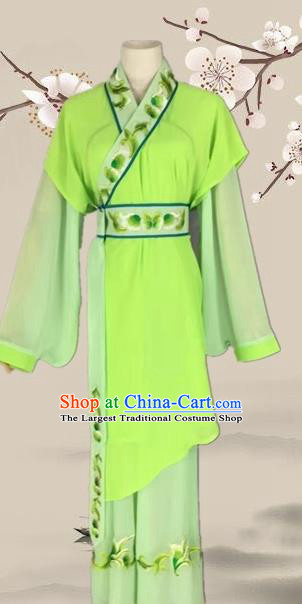Chinese Ancient Servant Girl Green Clothing Traditional Beijing Opera Young Lady Costume for Adults