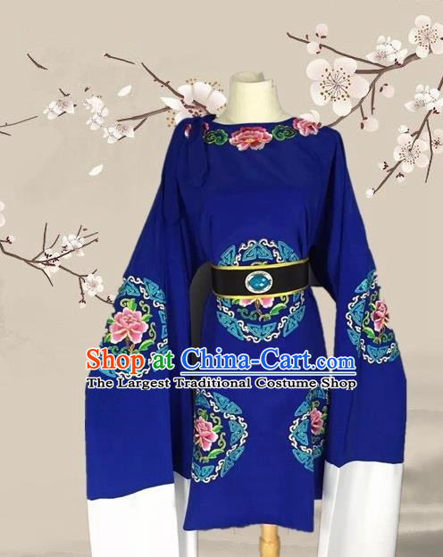 Chinese Ancient Dowager Countess Blue Clothing Traditional Beijing Opera Pantaloon Costume for Adults