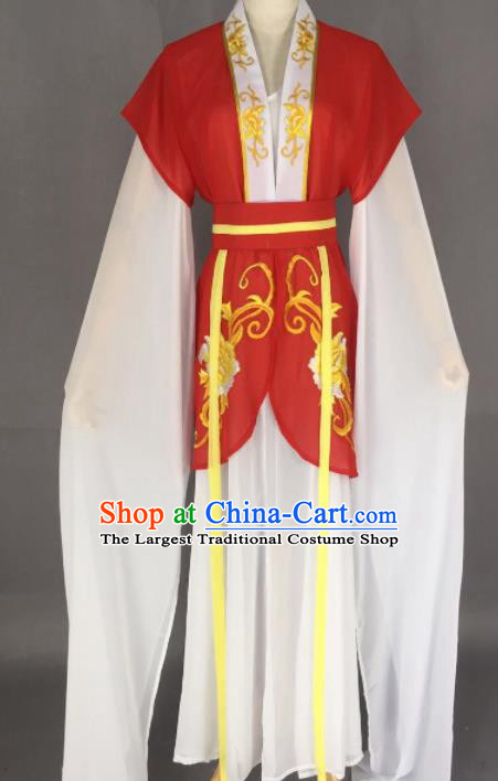 Chinese Ancient Court Maid Red Dress Traditional Beijing Opera Actress Costume for Adults