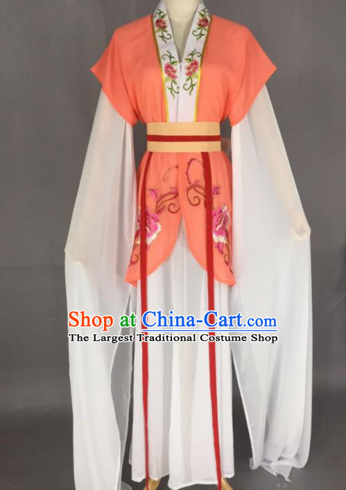 Chinese Ancient Court Maid Orange Dress Traditional Beijing Opera Actress Costume for Adults