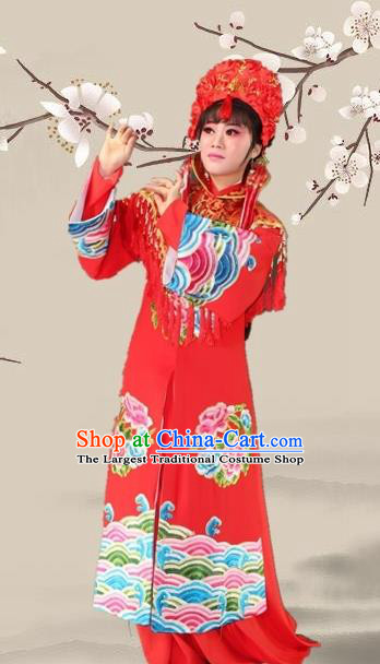 Chinese Ancient Bride Red Dress Traditional Beijing Opera Actress Costume for Adults