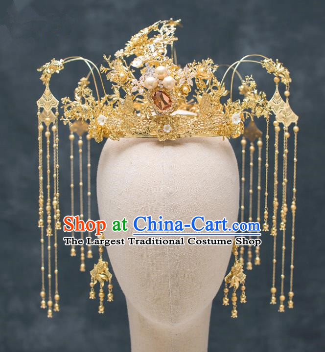 Chinese Ancient Hanfu Wedding Hair Accessories Traditional Tassel Phoenix Coronet Hairpins for Women
