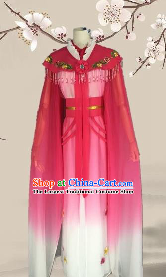 Chinese Ancient Fairy Rosy Dress Traditional Beijing Opera Actress Costume for Adults