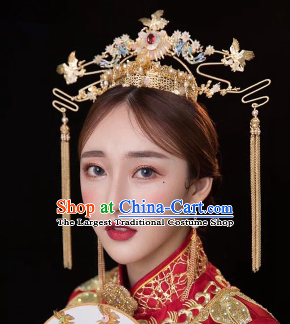 Chinese Ancient Hanfu Phoenix Coronet Wedding Hair Accessories Traditional Hairpins for Women