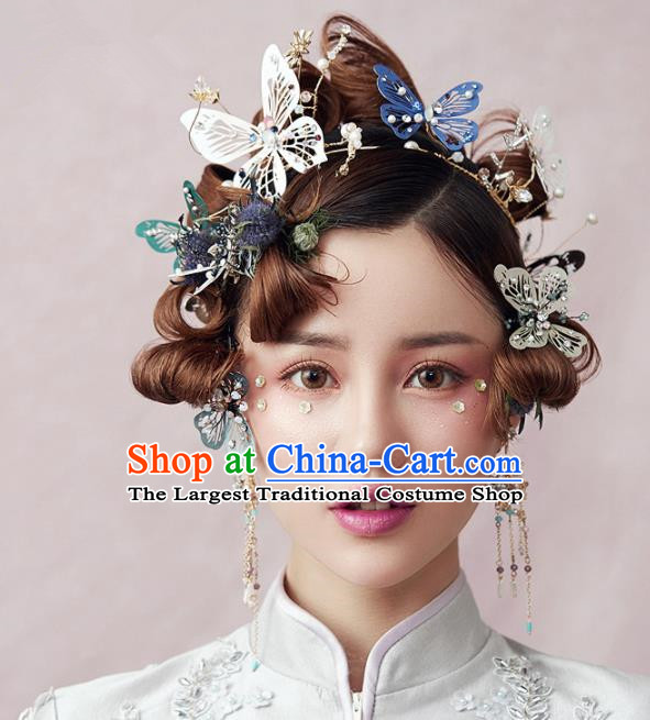 Chinese Ancient Hanfu Wedding Butterfly Hair Clasp Hair Accessories Traditional Hairpins for Women