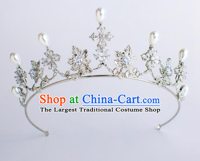 Top Grade Bride Hair Accessories Princess Pearls Crystal Hair Clasp Royal Crown Headwear for Women