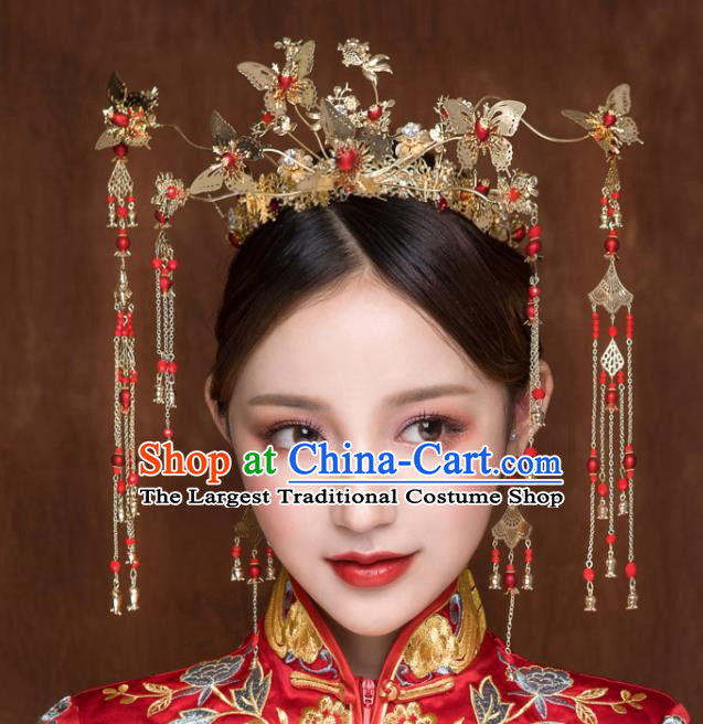 Chinese Ancient Hanfu Wedding Butterfly Phoenix Coronet Hair Accessories Traditional Hairpins for Women