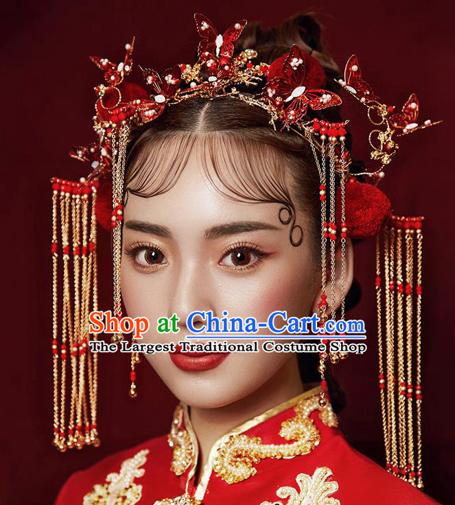 Chinese Ancient Hanfu Wedding Red Butterfly Phoenix Coronet Hair Accessories Traditional Hairpins for Women