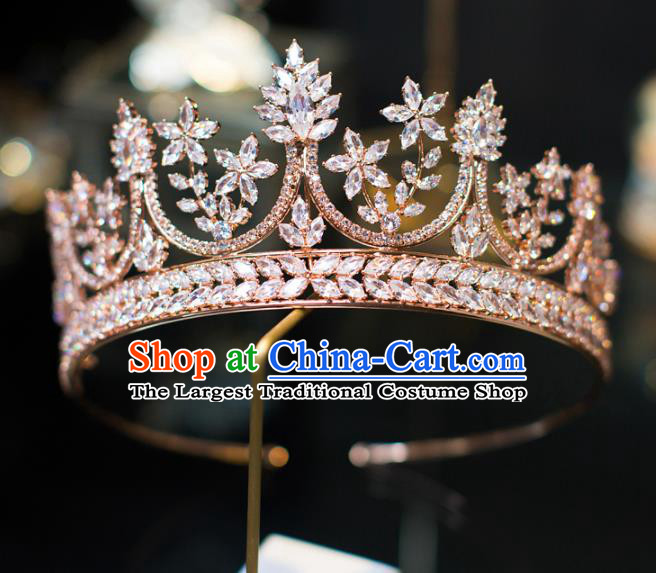 Top Grade Bride Hair Accessories Golden Crystal Royal Crown Headwear for Women
